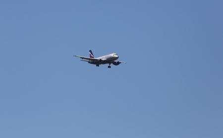 zagreb: Airbus A319, registration VP-BWA of Aeroflot landing on Zagreb Airport Pleso on June 10, 2015.