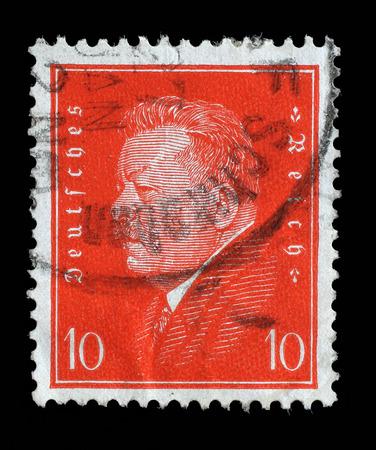 Reich: Stamp printed in the German Reich shows Friedrich Ebert 1871-1925, 1st President of the German Reich, circa 1928.