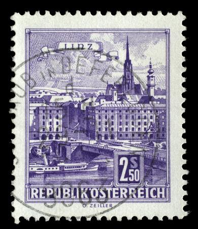 linz: Stamp printed by Austria, shows Danube Bridge, Linz, circa 1962 Editorial
