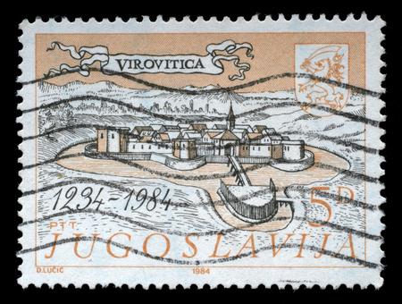 yugoslavia: Stamp printed in Yugoslavia shows The 700th Anniversary of Virovitica, circa 1984.