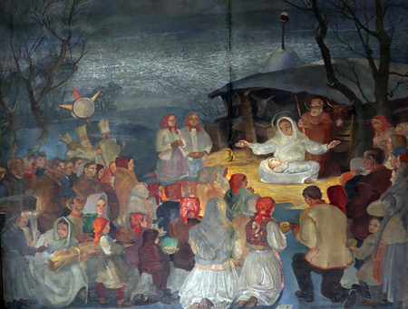 altarpiece: Birth of Jesus, altarpiece in parish church of Saint Mark in Zagreb, Croatia on November 21, 2014