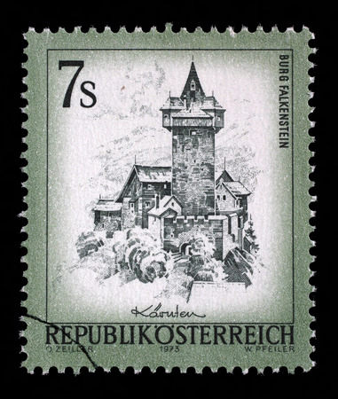 stempeln: Stamp printed in Austria shows Burg Falkenstein, from the series Sights in Austria, circa 1973