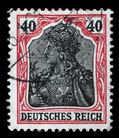 personification: Stamp printed in Germany shows Germania Allegory, Personification of Germany, without inscription, series Germanania, circa 1900 Editorial
