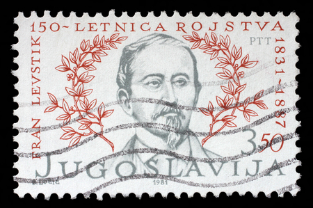 critic: Stamp printed in Yugoslavia shows The 150th anniversary of the Birth of Franc Levstik1831-1887 Slovene writer, political activist, playwright and critic, circa 1981.