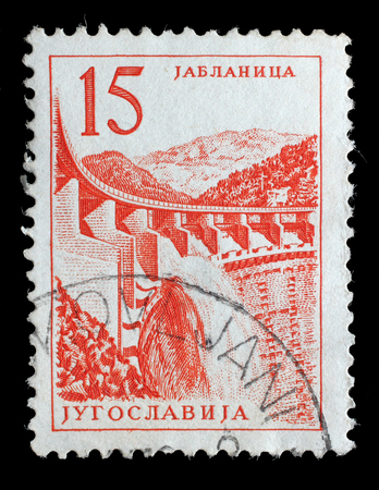 Stamp printed in Yugoslavia shows a Hydroelectric works, Jablanica, with the same inscription, from series Industrial Progress circa 1958