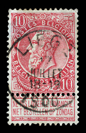 leopold: Stamp printed in the Belgium shows King Leopold II of Belgium, circa 1893