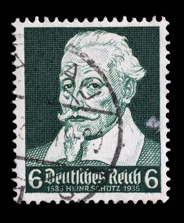 schutz: Stamp printed in the German Reich shows Heinrich Schutz 1585-1672, composer, circa 1935.