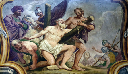 andrew: Saint Andrew the Apostle, fresco on the ceiling  of the Cathedral of St Nicholas in the capital city of Ljubljana, Slovenia on June 30, 2015