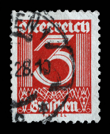 mediaval: Stamp printed in Austria shows image of the number 3, circa 1925. Editorial