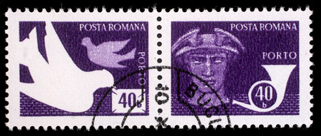 posthorn: Stamp printed in Romania shows Pigeons, God Mercury, Posthorn, Post and telecommunications issue, circa 1974.
