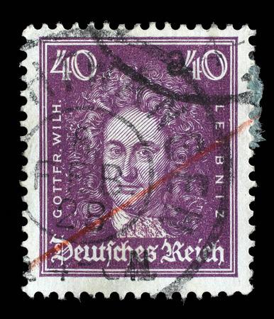 mathematician: Stamp printed in the German Reich shows Gottfried Wilhelm von Leibniz, polymath, mathematician, and philosopher, circa 1926.