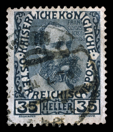 franz josef: Stamp printed in the Austria shows Franz Josef in middle Age, Emperor of Austria, circa 1908