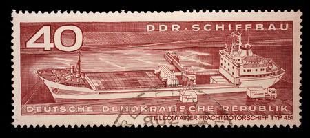 gdr: Stamp printed in GDR from the GDR Ship Building issue shows Container Cargo Ship Type 451, circa 1971. Editorial