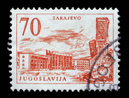Stamp printed in Yugoslavia shows Sarajevo railway station and obelisk, Bosnia and Herzegovina, circa 1958.