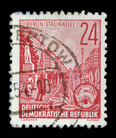 gdr: Stamp printed in GDR, shows Stalin Avenue with inscription Berlin, Stalin Avenue, series Five-year plan, circa 1955 Editorial