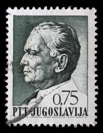 Stamp printed in Yugoslavia shows a portrait of Yugoslavian President Josip Broz Tito, from series 75th birthday of President Josip Broz Tito, circa 1967 Redakční