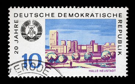 gdr: Stamp printed in GDR shows View of Halle Neustadt, circa 1969