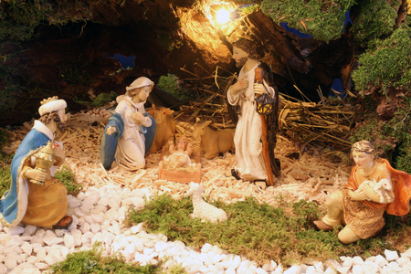 infant jesus: Exhibition of Christmas mangers at the monastery of the Sisters Servants of the Infant Jesus in Zagreb, Croatia on December 17, 2014 Editorial