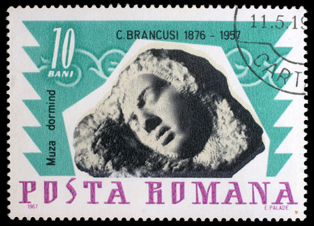 muse: Stamp printed in Romania shows Sleeping muse by Constantin Brancusi, circa 1967. Editorial