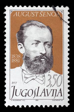 former yugoslavia: Stamp printed by Yugoslavia, shows Croatian writer August Senoa, circa 1981 Editorial