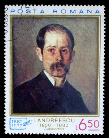 ion: Stamp printed in Romania shows Self portrait by Ion Andreescu 1850-1882, circa 1972.