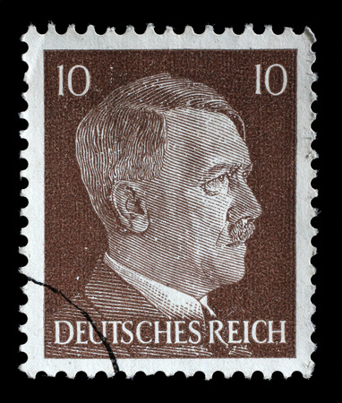 german fascist: Stamp printed in Germany shows the image of Adolf Hitler, series 1942