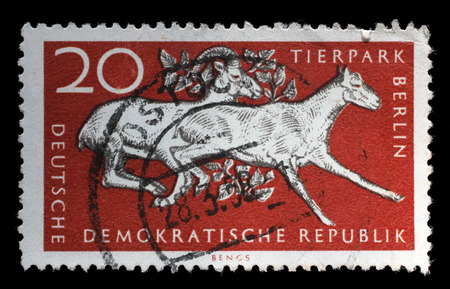 gdr: Stamp printed in GDR shows 10th Anniversary of Berlin ZOO, circa 1965 Editorial