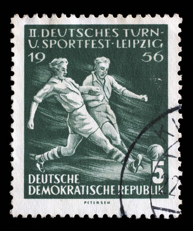 gdr: Stamp printed in GDR shows Soccer Players, Second Sports Festival, Leipzig, circa 1956
