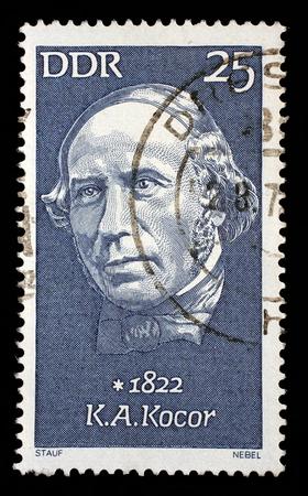composer: Stamp printed in GDR shows Korla Awgust Kocor 1822-1904, composer, circa 1972