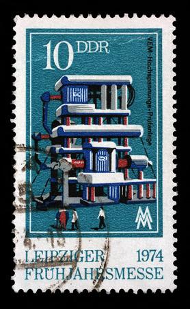gdr: Stamp printed in GDR shows Power Testing Station, Leipzig Fair, circa 1974