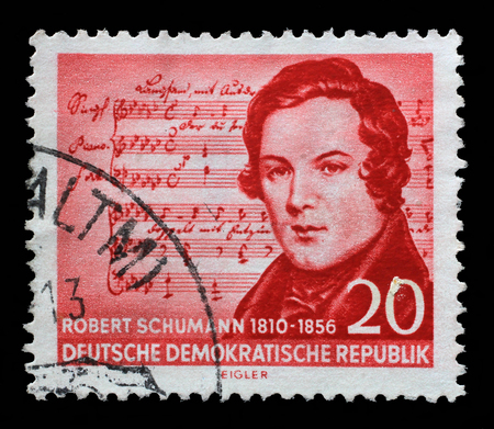 composer: Stamp printed in GDR shows Robert Schumann 1810-1856, Music by Schubert, composer, centenary of the death, circa 1956