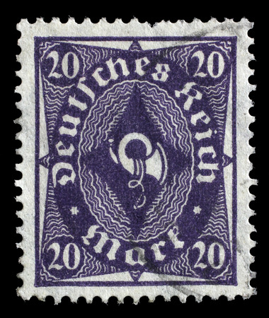 bundespost: Stamp printed in Germany shows a posthorn, circa 1922.