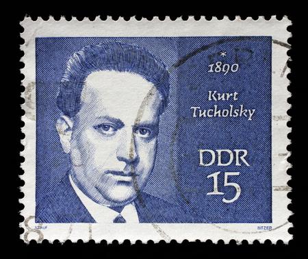 satirist: Stamp printed in GDR shows Kurt Tucholsky 1890-1935, journalist, satirist and writer, circa 1970