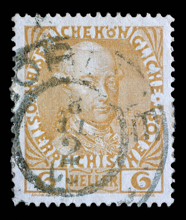 leopold: Stamp printed in the Austria shows Leopold II, Emperor of Austria, circa 1908