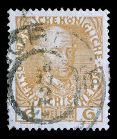 majesty: Stamp printed in the Austria shows Leopold II, Emperor of Austria, circa 1908