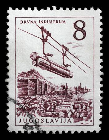 lumber industry: Stamp printed in Yugoslavia shows lumber industry, circa 1958