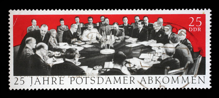 aliados: Stamp printed in GDR dedicate 25th anniv. of the Potsdam Agreement among the Allies concerning Germany at the end of WWII, Churchill, Harry S. Truman and Stalin, circa 1970