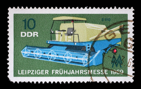 gdr: Stamp printed in GDR shows Combine, Agricultural Machine, Leipzig Fair, circa 1969