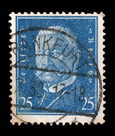 hindenburg: Stamp printed in the German Reich shows Paul von Hindenburg 1847-1934, 2nd President of the German Reich, circa 1928.