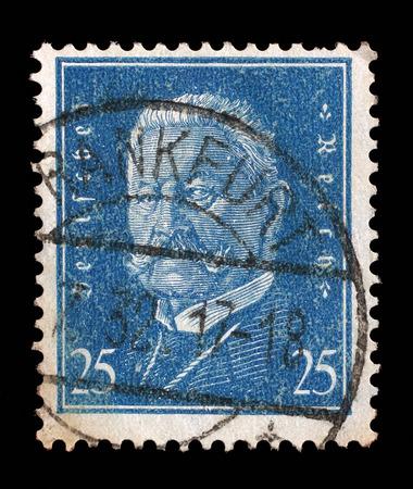 Stamp printed in the German Reich shows Paul von Hindenburg 1847-1934, 2nd President of the German Reich, circa 1928.