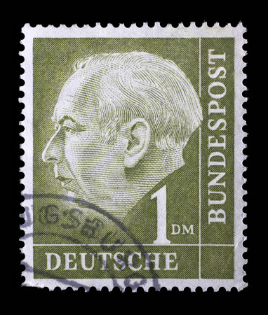theodor: Stamp printed in the Germany shows Theodor Heuss, 1st President of the Federal Republic of Germany, 1949-1959, circa 1954 Editorial