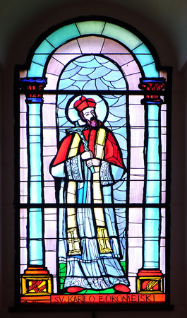 borromeo: Saint Chaeles Borromeo, stained glass window in the Church of the Assumption of the Blessed Virgin Mary in Pakrac, Croatia on May 07, 2015