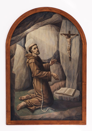 retablo: Saint Francis of Assisi, altarpiece in the Church of Saint Francis of Assisi in Lipik, Croatia on May 07, 2015 Editorial
