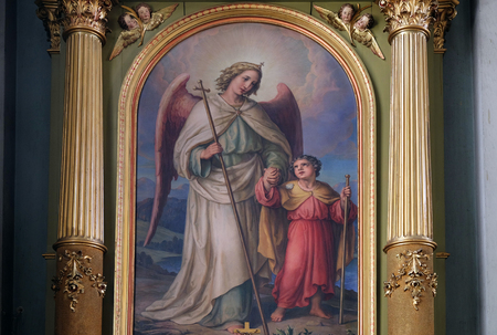 retablo: Guardian angel, altarpiece in the Basilica of the Sacred Heart of Jesus in Zagreb, Croatia on May 28, 2015