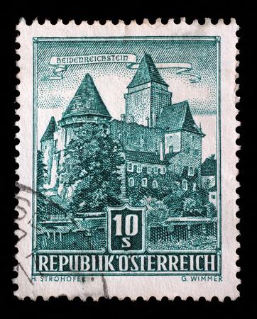 window seal: Stamp printed by Austria, shows Heidenreichstein Castle, circa 1957 Editorial