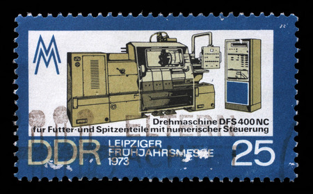 gdr: Stamp printed in GDR shows Lathe Machine, Leipzig Spring Fair, circa 1973