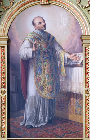 sacre coeur: Saint Ignace de Loyola, retable de la basilique du Sacr�-C?ur de J�sus � Zagreb, Croatie
