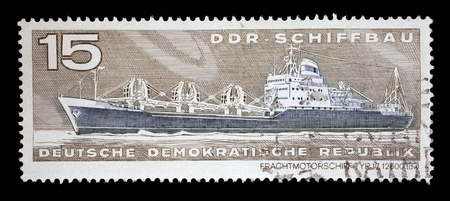 gdr: Stamp printed in GDR from the GDR Ship Building issue shows Container Cargo Ship Type 17 12500 tdw, circa 1971.