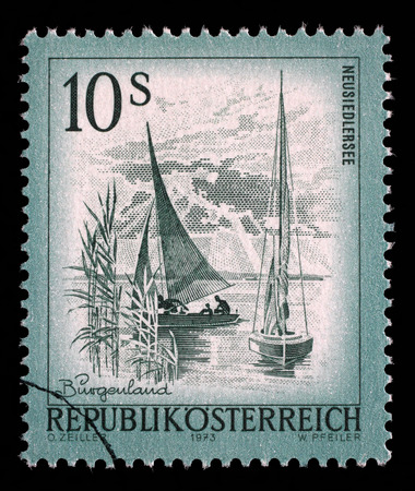 stempeln: Stamp printed in Austria from the Views issue shows Neusiedlersee lake, circa 1973.
