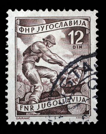 woodworker: Stamp printed in Yugoslavia shows woodworker, domestic economy Series, circa 1952